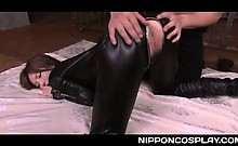 Hot bodied jap slut in latex pussy pleased with fingers