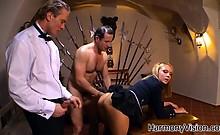 Cock hungry schoolgirl fucks two guys