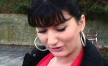 Brunette Flashing Big Tits And Pussy Outdoors In Public