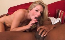 Sexy naked blonde jumping monster black dick on the sofa