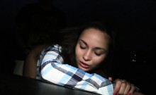 Amateur student fucked beside fake taxi